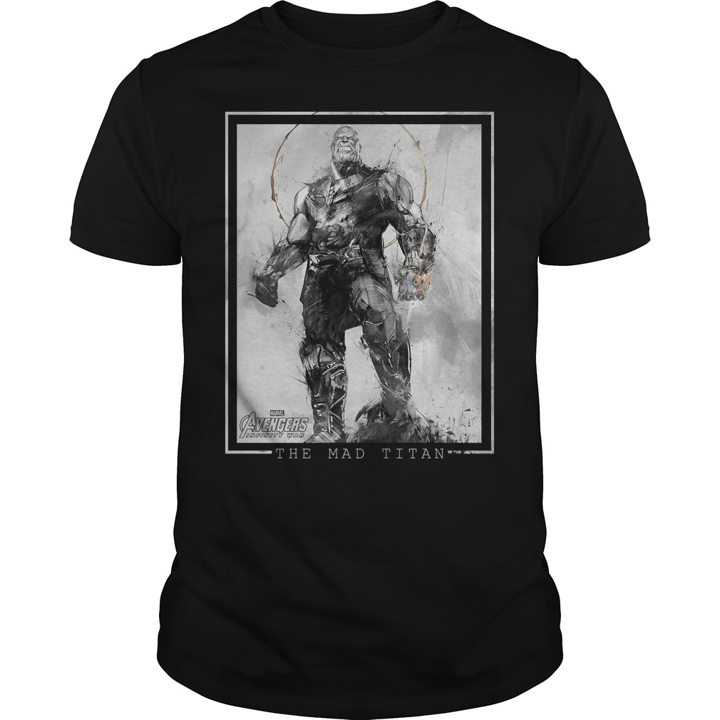 Marvel Avengers Infinity War Thanos Sketch Graphic Shirt