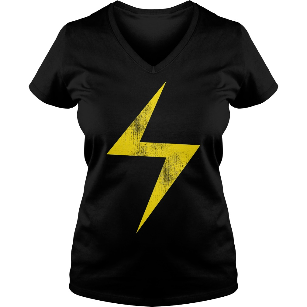 Marvel Ms Marvel Lightning Bolt Icon V Neck