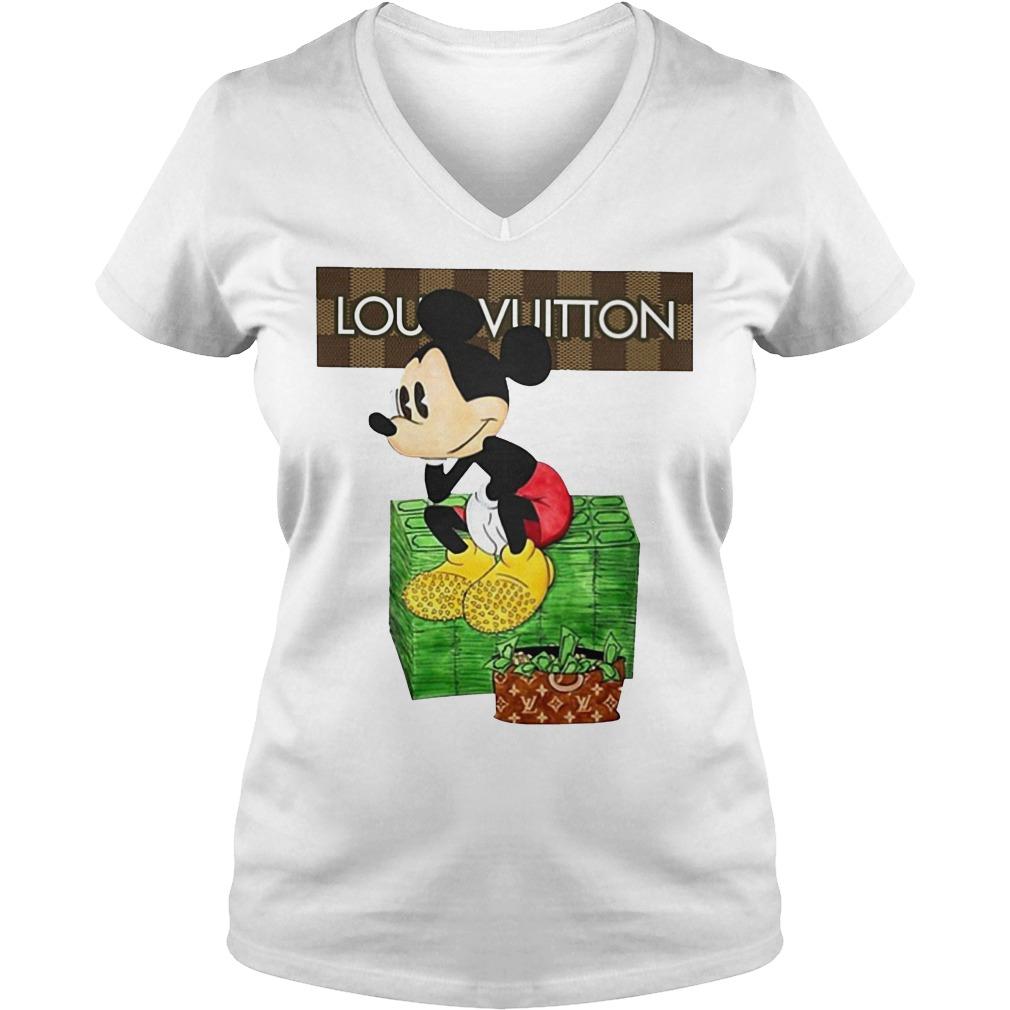Official Louis Vuitton Lv Mickey Mouse Money V Neck