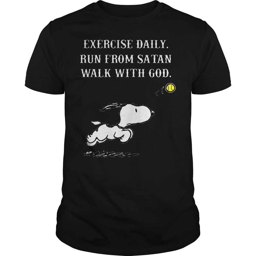 Snoopy Exercise Daily Run From Satan Walk With God Shirt