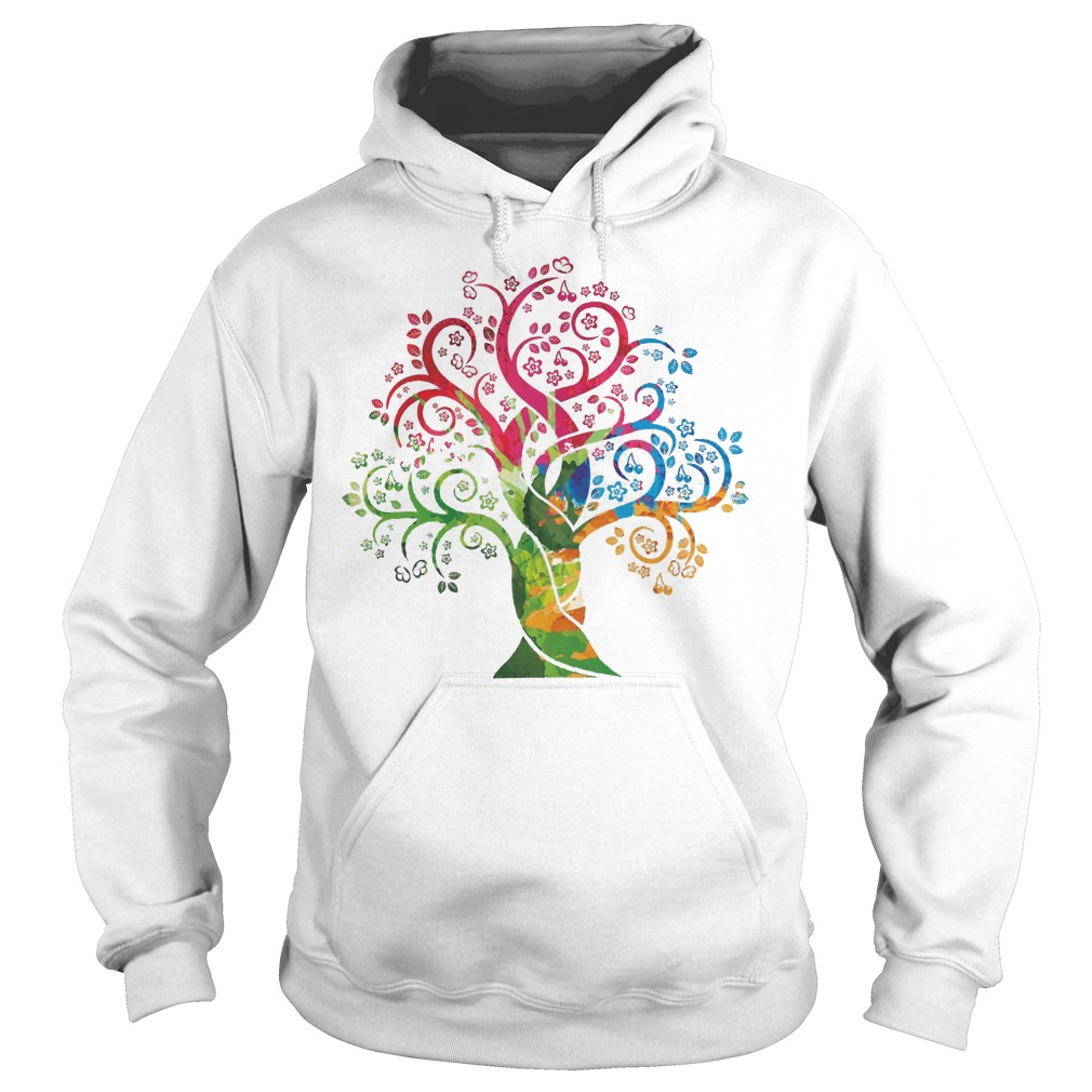 Womens Colorful Life Is Really Good Vintage Tree Art Hoodie