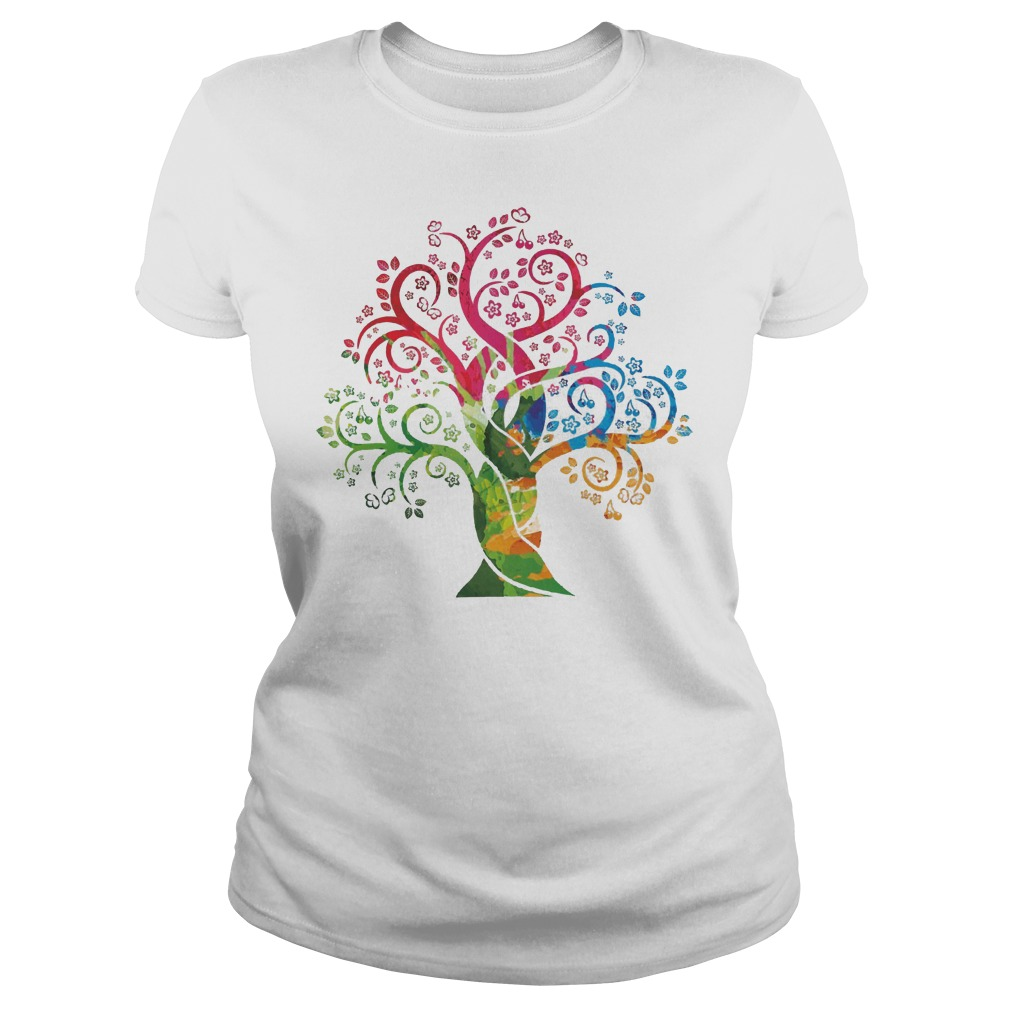 Womens Colorful Life Is Really Good Vintage Tree Art Ladies