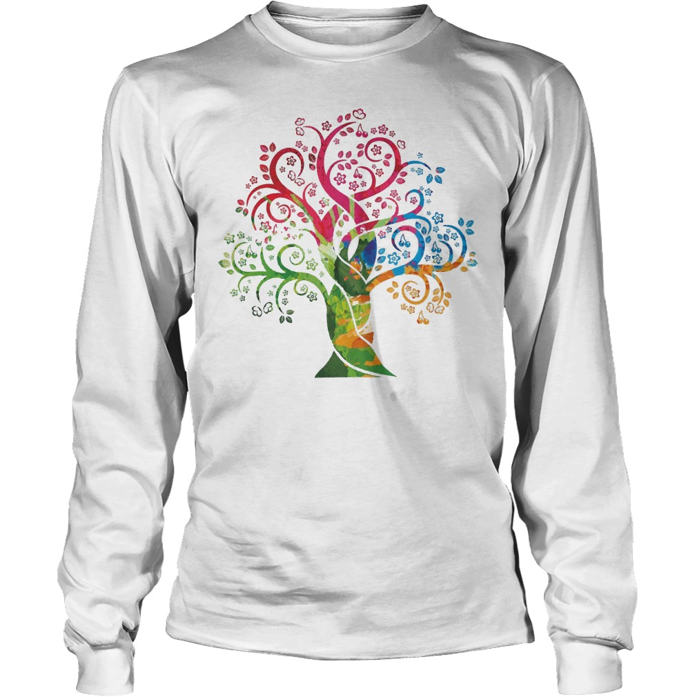 Womens Colorful Life Is Really Good Vintage Tree Art Longsleeve