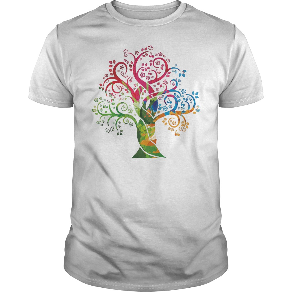 Womens Colorful Life Is Really Good Vintage Tree Art Shirt