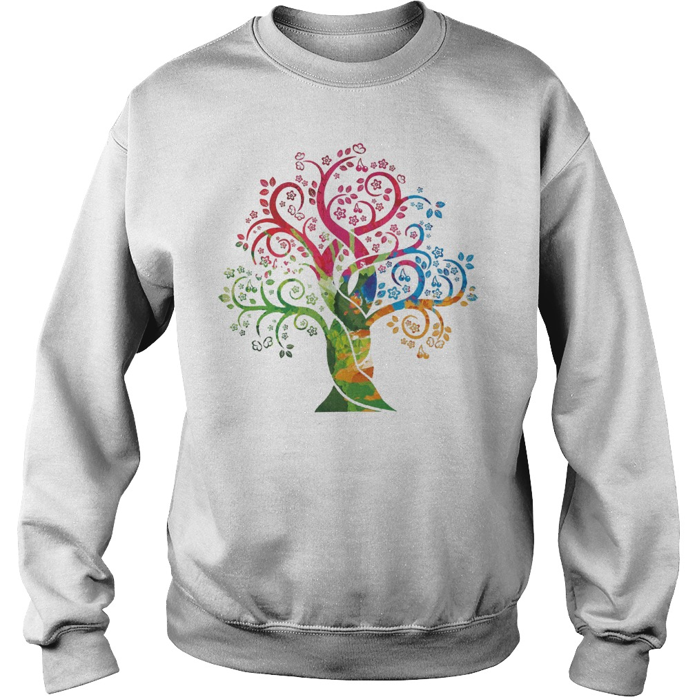 Womens Colorful Life Is Really Good Vintage Tree Art Sweater