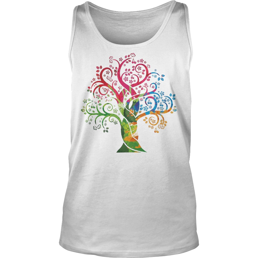 Womens Colorful Life Is Really Good Vintage Tree Art Tanktop