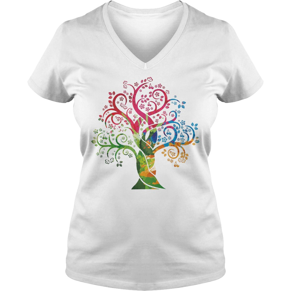 Womens Colorful Life Is Really Good Vintage Tree Art V Neck
