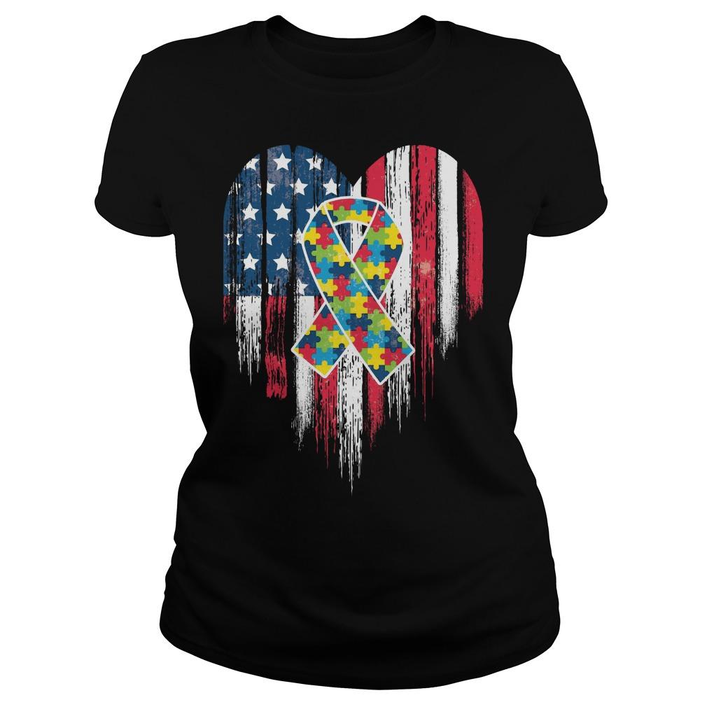 American Flag Heart Autism Awareness Ladies