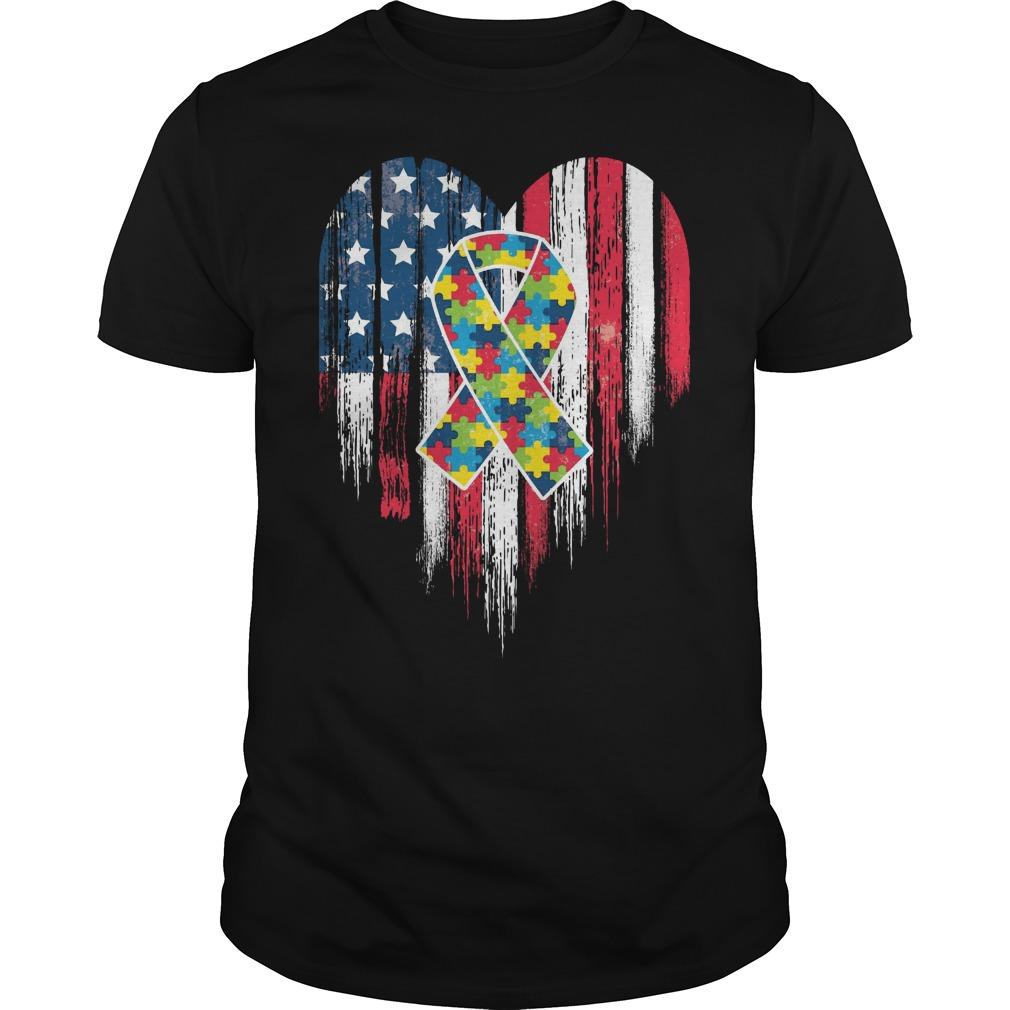 American Flag Heart Autism Awareness Shirt