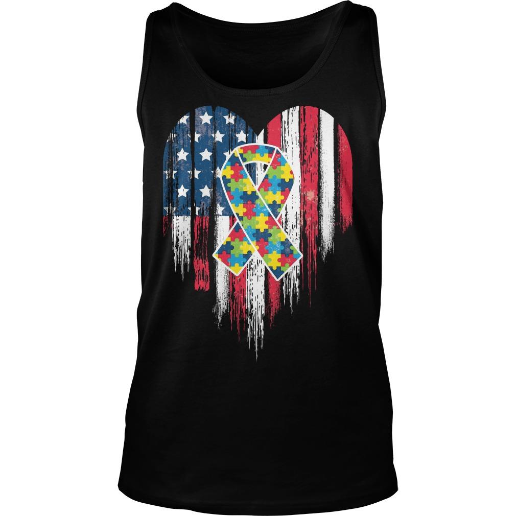 American Flag Heart Autism Awareness Tanktop