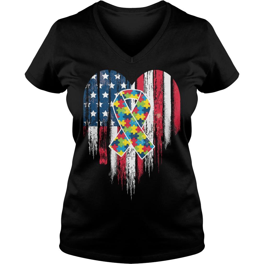 American Flag Heart Autism Awareness V Neck