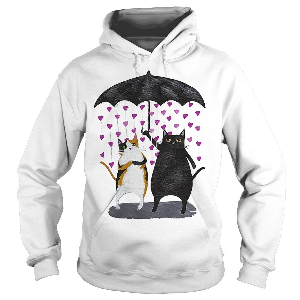 Cat Under Heart Rain Umbrella Hoodie