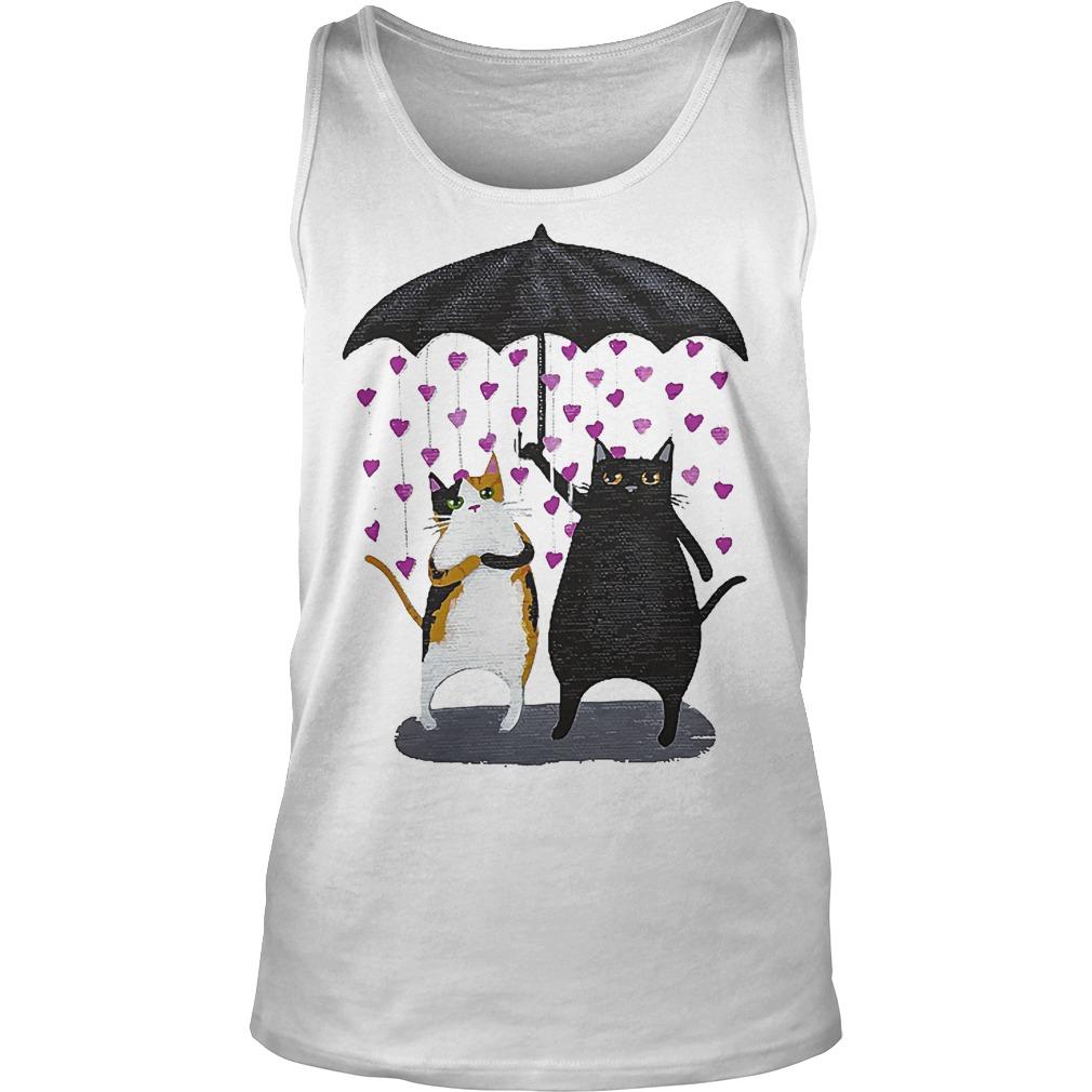 Cat Under Heart Rain Umbrella Tanktop
