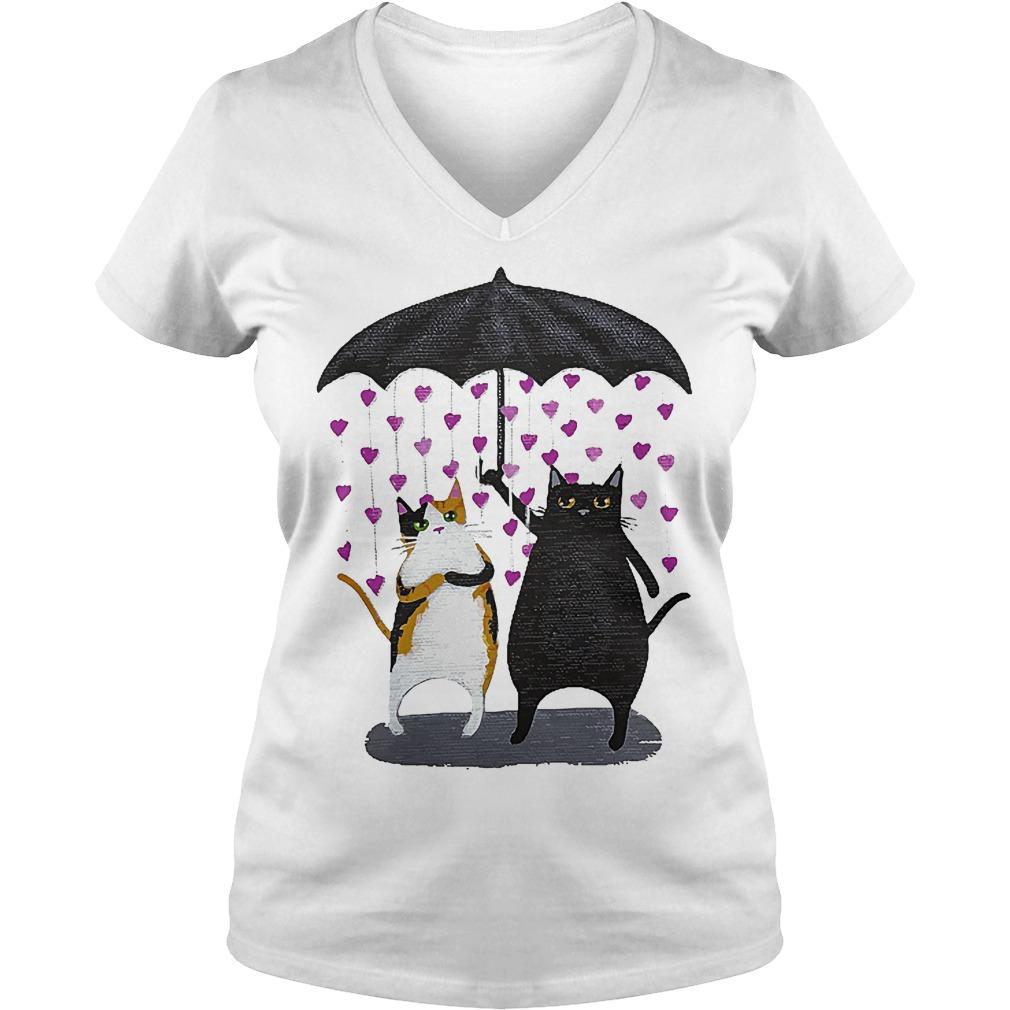 Cat Under Heart Rain Umbrella V Neck