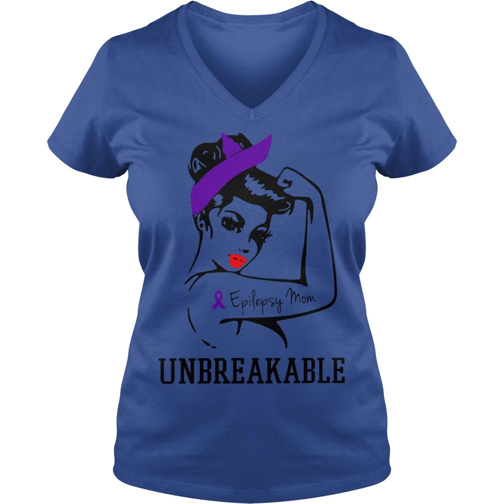 Epilepsy Mom Unbreakable V Neck