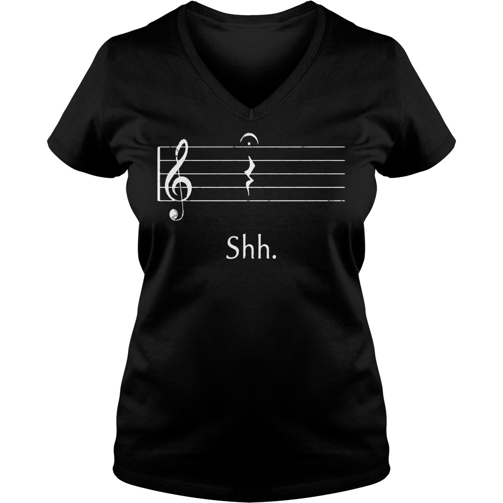 Funny Music Shirt Shh Quarter Rest V Neck