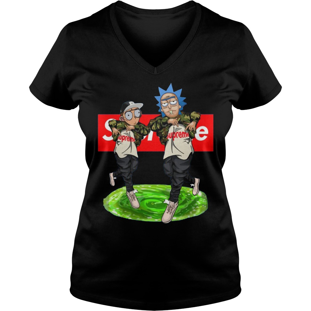 New Hiphop Style Rick And Morty Supreme V Neck