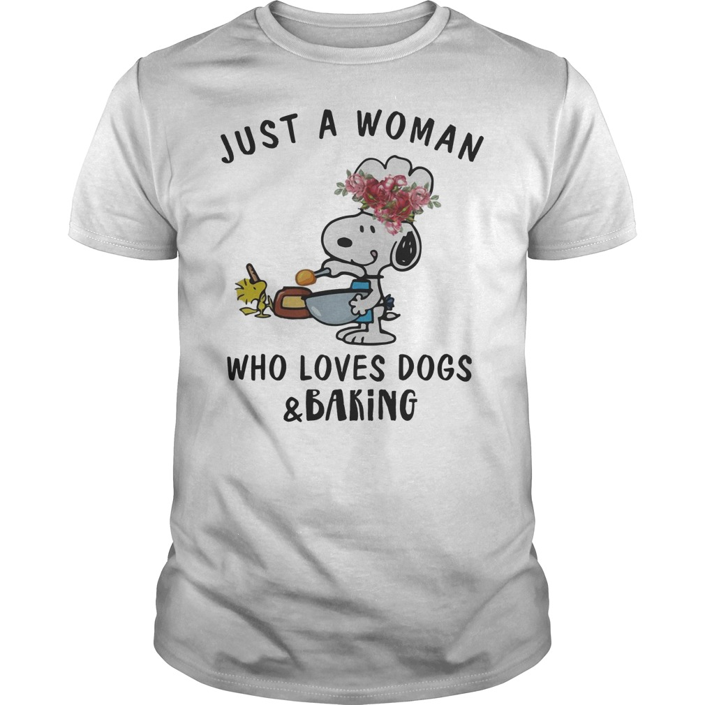 Snoopy Just A Woman Who Loves Dogs And Baking Guy Tee