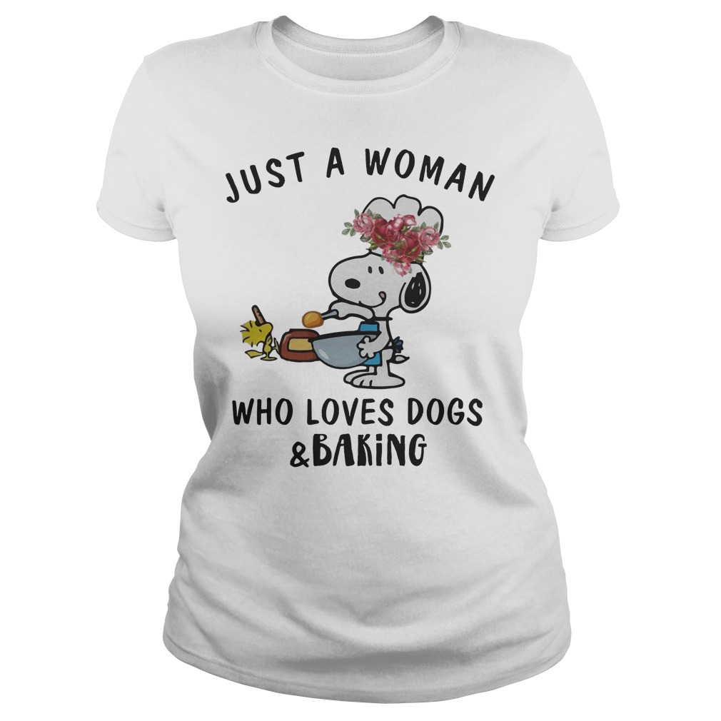 Snoopy Just A Woman Who Loves Dogs And Baking Ladies Tee