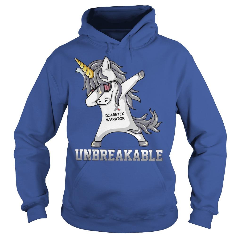 Unicorn Dabbing Diabettic Warrior Unbreakable Hoodie