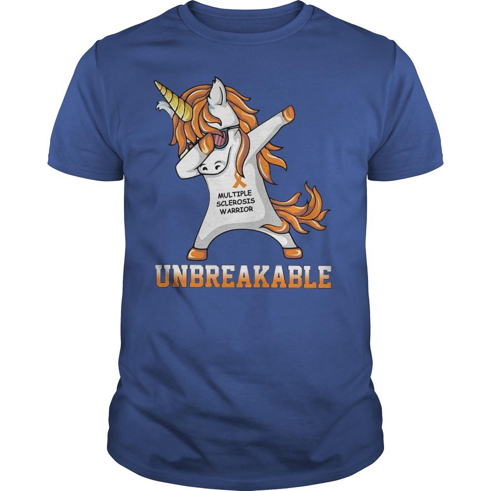 Unicorn Dabing Multiple Sclerosis Warrior Unbreakable Shirt