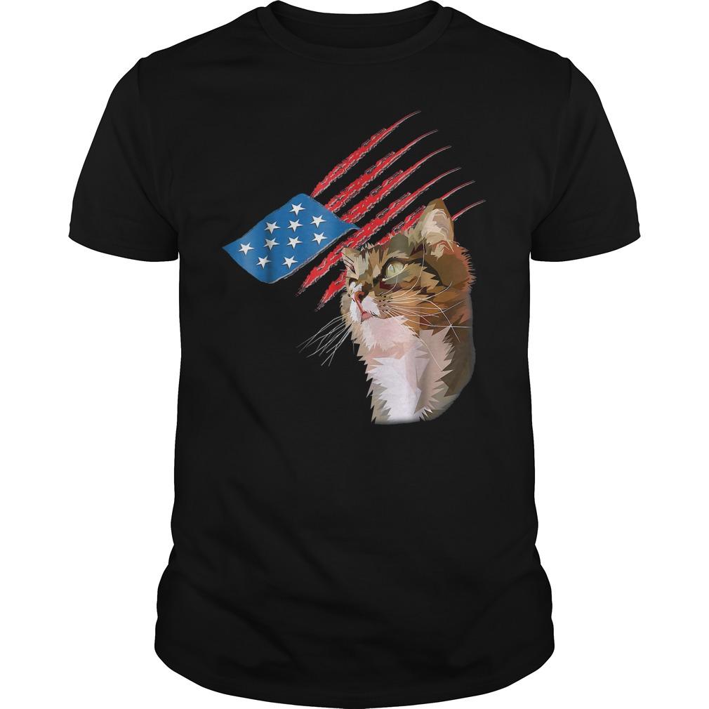 4th Of July Patriotic American Cat T Shirt