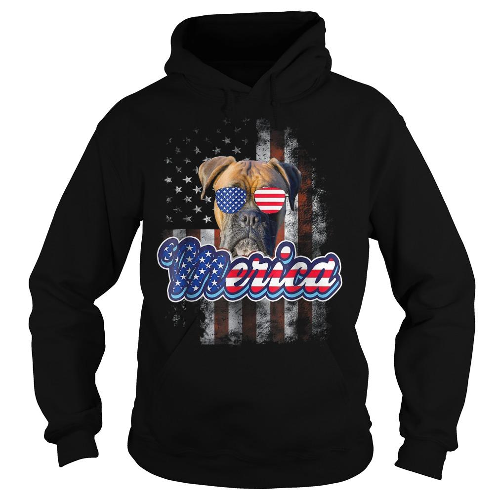 American Flag America 4th Of July Dog Patriotic Boxer Hoodie