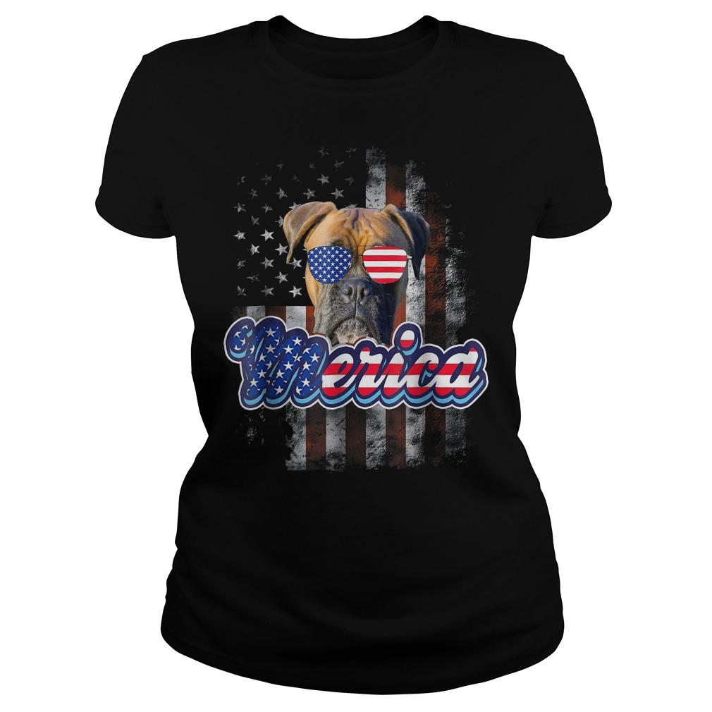 American Flag America 4th Of July Dog Patriotic Boxer Ladies