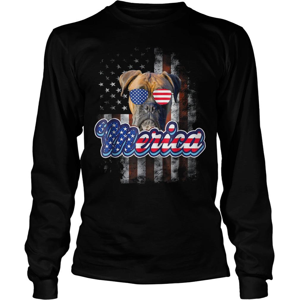 American Flag America 4th Of July Dog Patriotic Boxer Longsleeve