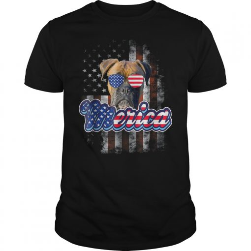 American Flag America 4th Of July Dog Patriotic Boxer T Shirt