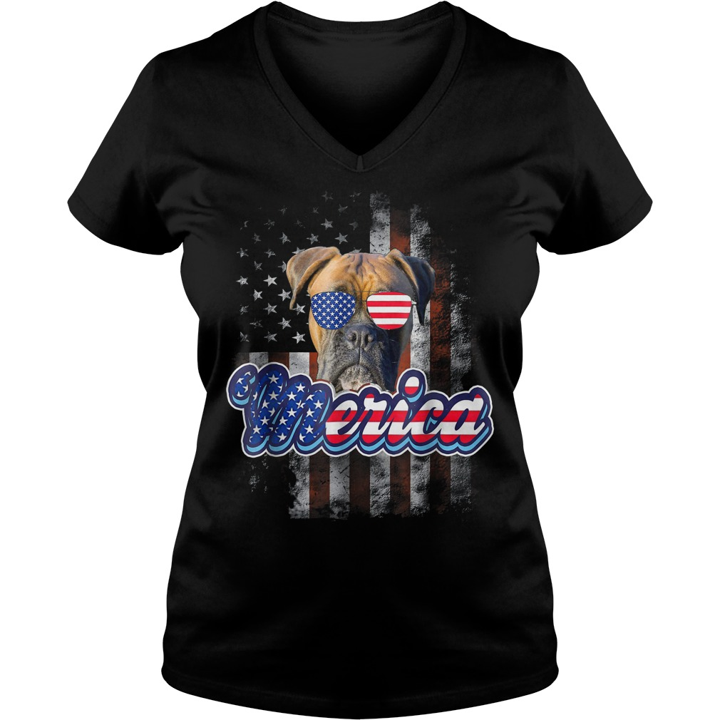 American Flag America 4th Of July Dog Patriotic Boxer V Neck