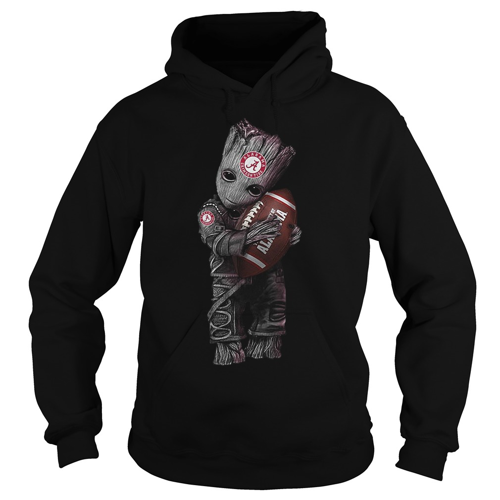 Baby Groot Hugs Alabama Crimson Tide Hoodie