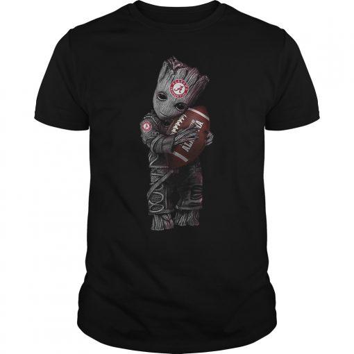 Baby Groot Hugs Alabama Crimson Tide T Shirt
