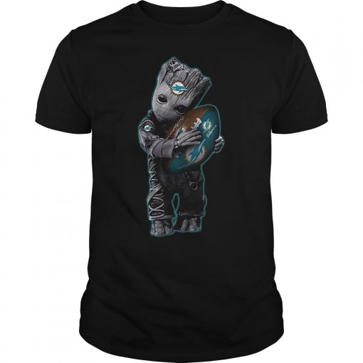 Baby Groot Hug Miami Dolphins Football Nfl T Shirt