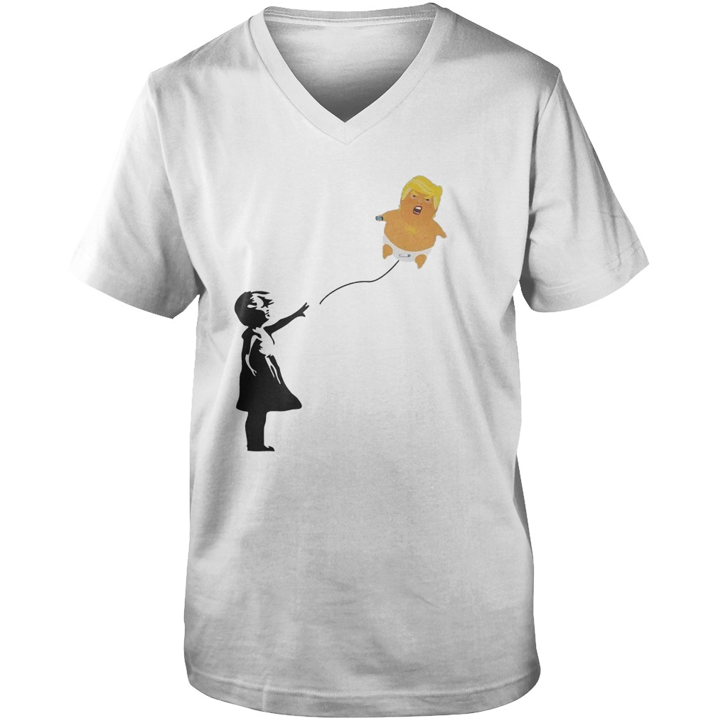 Balloon Girl And Baby Trump T-Shirt Guys V-Neck