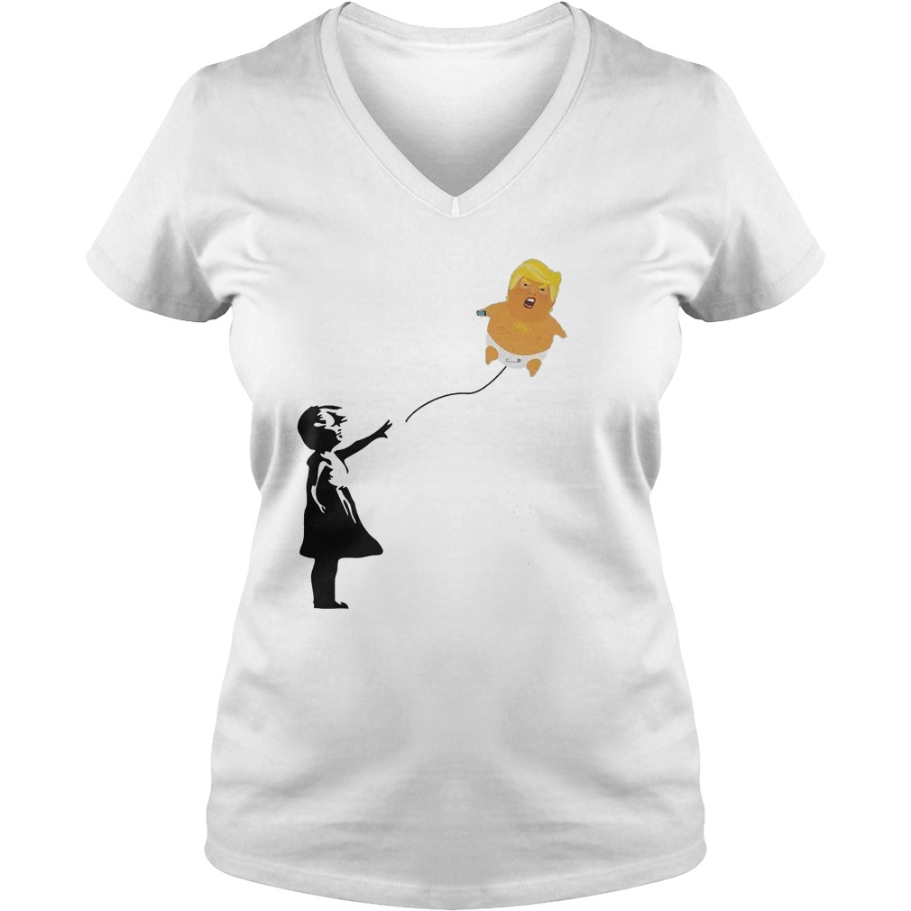 Balloon Girl And Baby Trump T-Shirt Ladies V-Neck