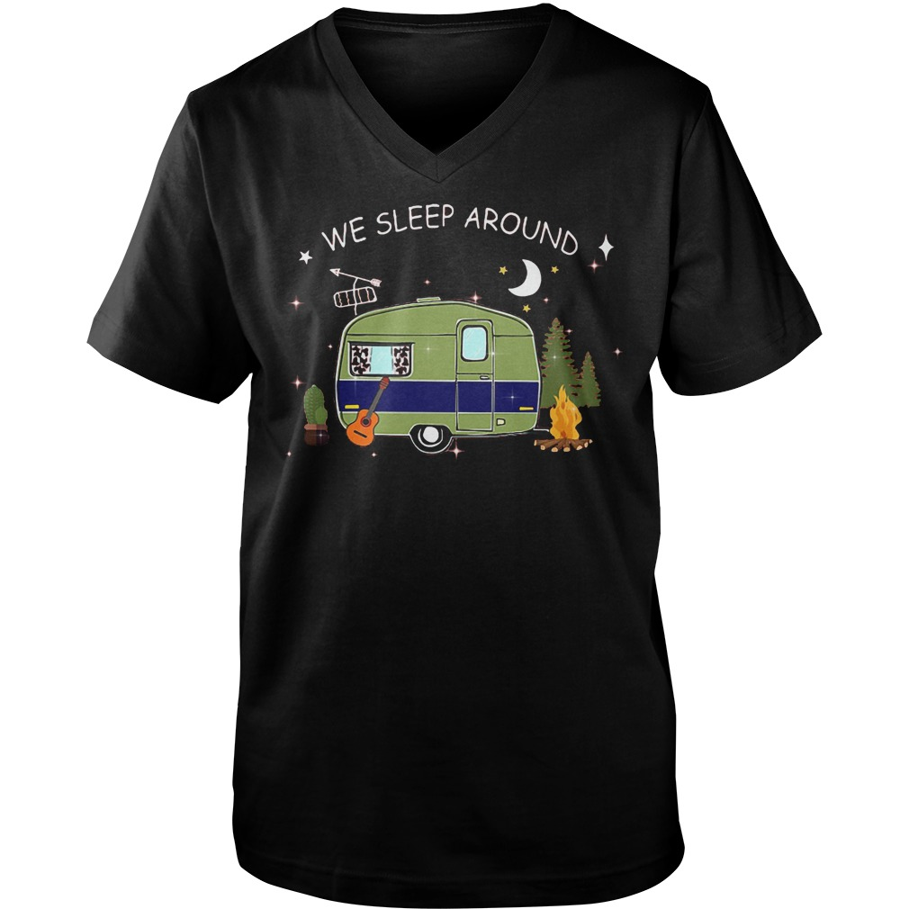 Camping We Sleep Around T-Shirt Guys V-Neck
