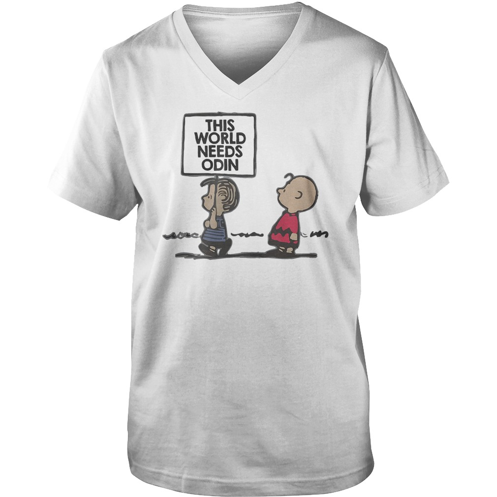 Charlie Brown This World Needs Odin T-Shirt Guys V-Neck