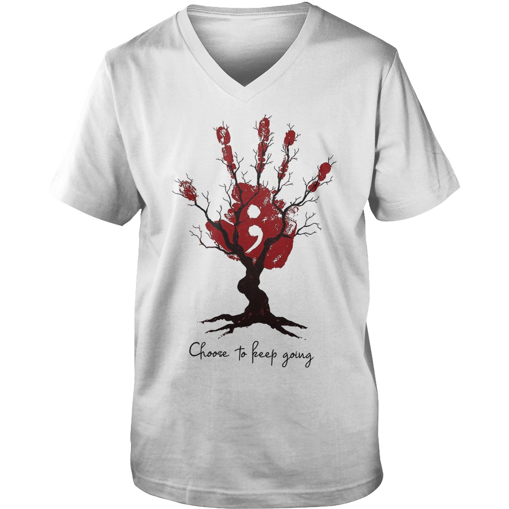 Hand Tree Choose To Keep Going T-Shirt Guys V-Neck