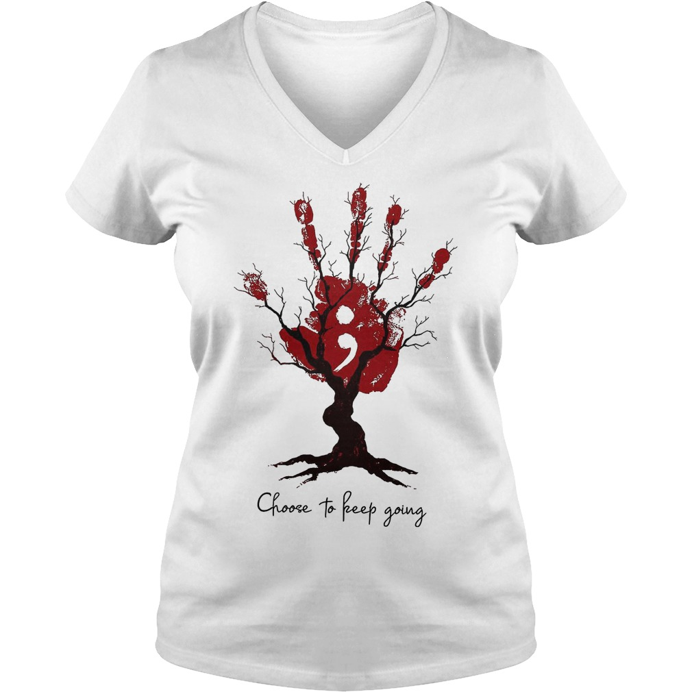 Hand Tree Choose To Keep Going T-Shirt Ladies V-Neck