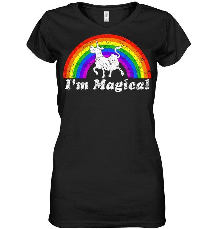 I'm Magical Rainbow Unicow V Neck
