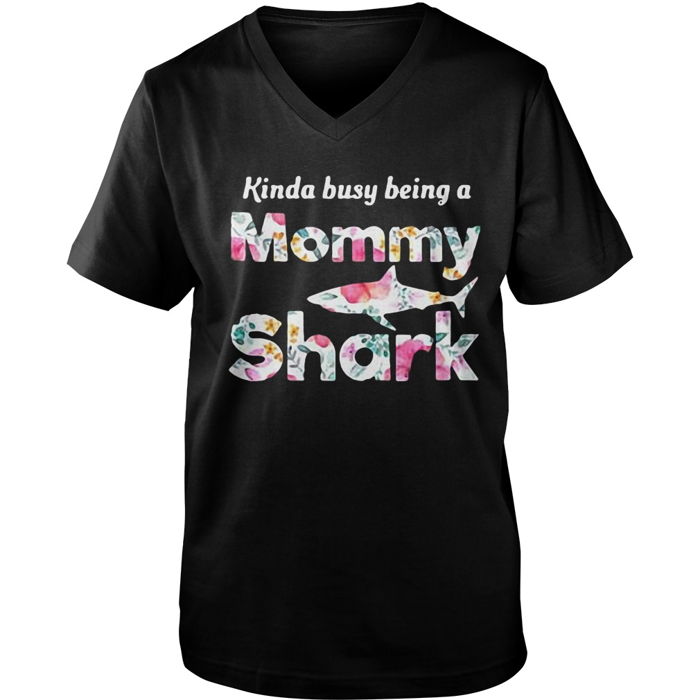 Kinda Busy Being A Mommy Shark T-Shirt Guys V-Neck