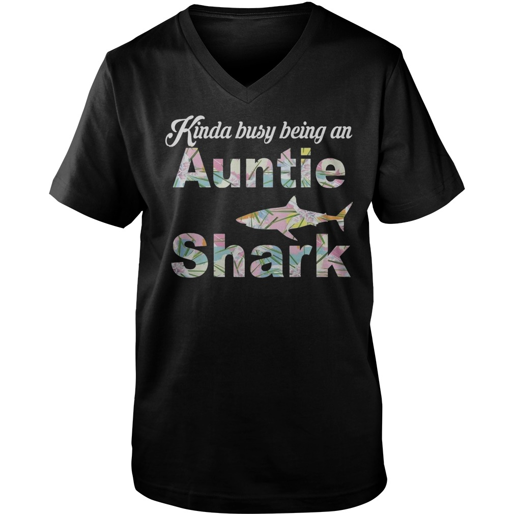 Kinda Busy Being An Auntie Shark T-Shirt Guys V-Neck
