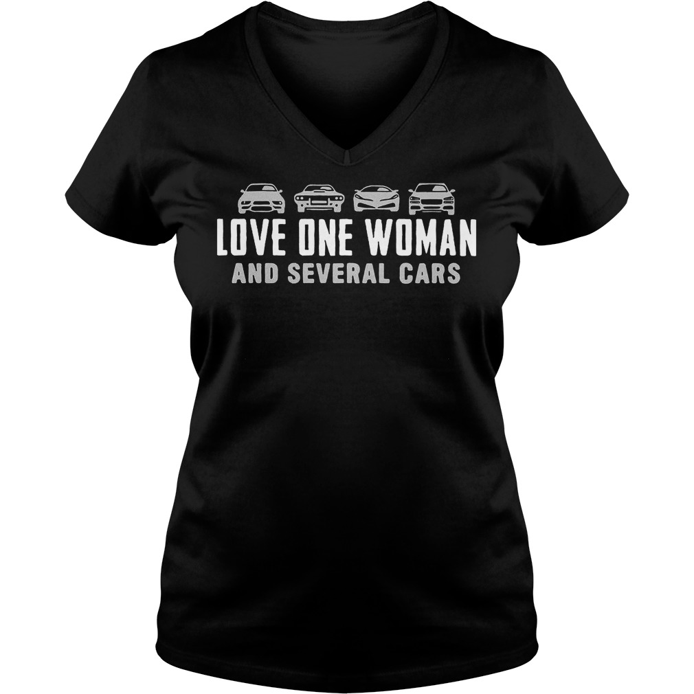 Love One Woman And Several Cars T-Shirt Ladies V-Neck