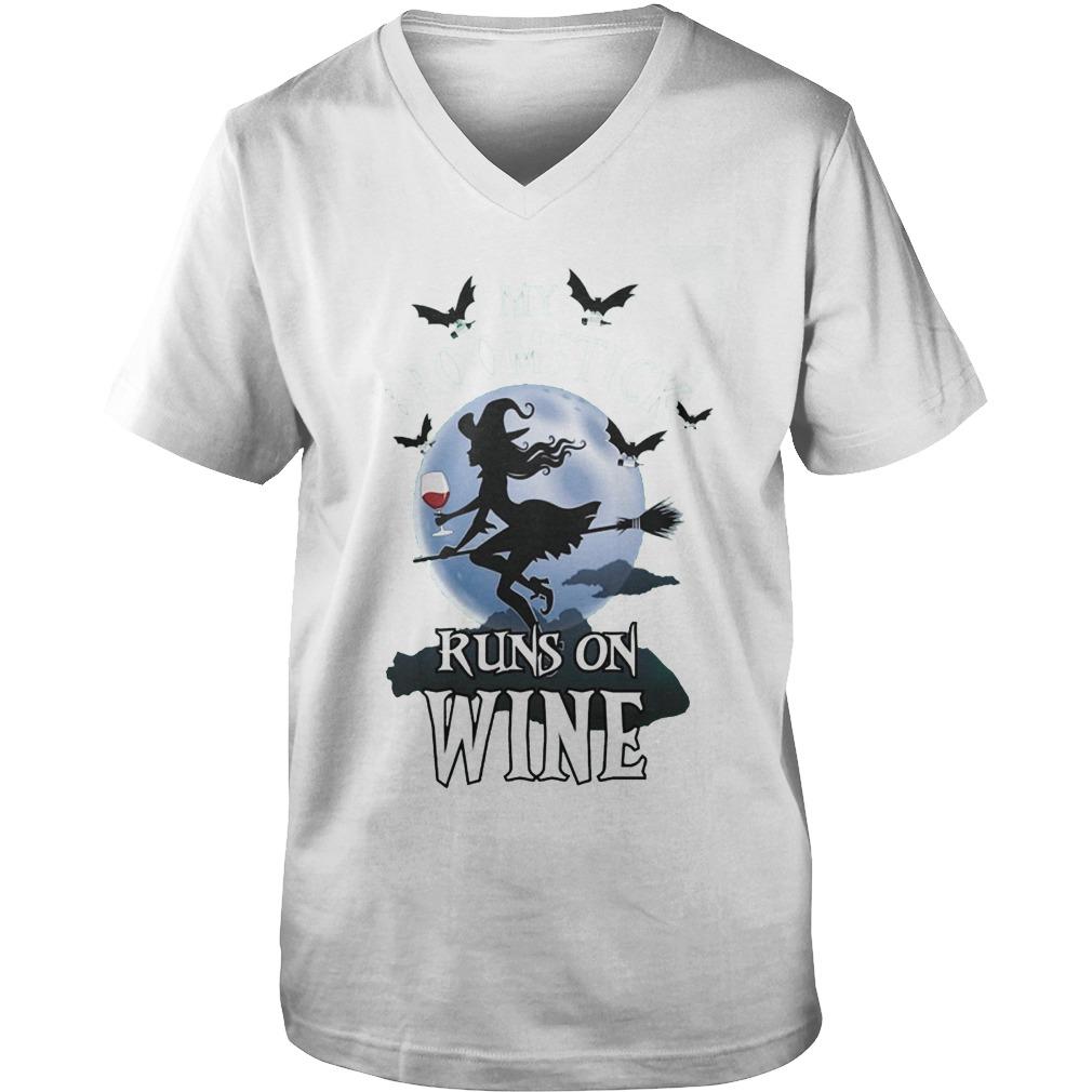 My Broomstick Runs And Wine T-Shirt Guys V-Neck
