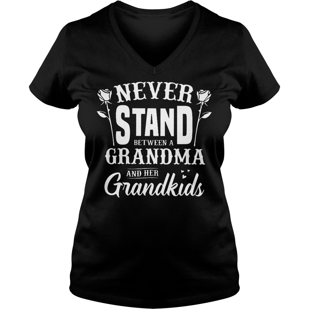 Never Stand Between A Grandma And Her Grandkids T-Shirt Ladies V-Neck
