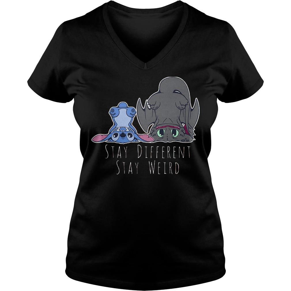 Stitch Stay Different Stay Weird T-Shirt Ladies V-Neck