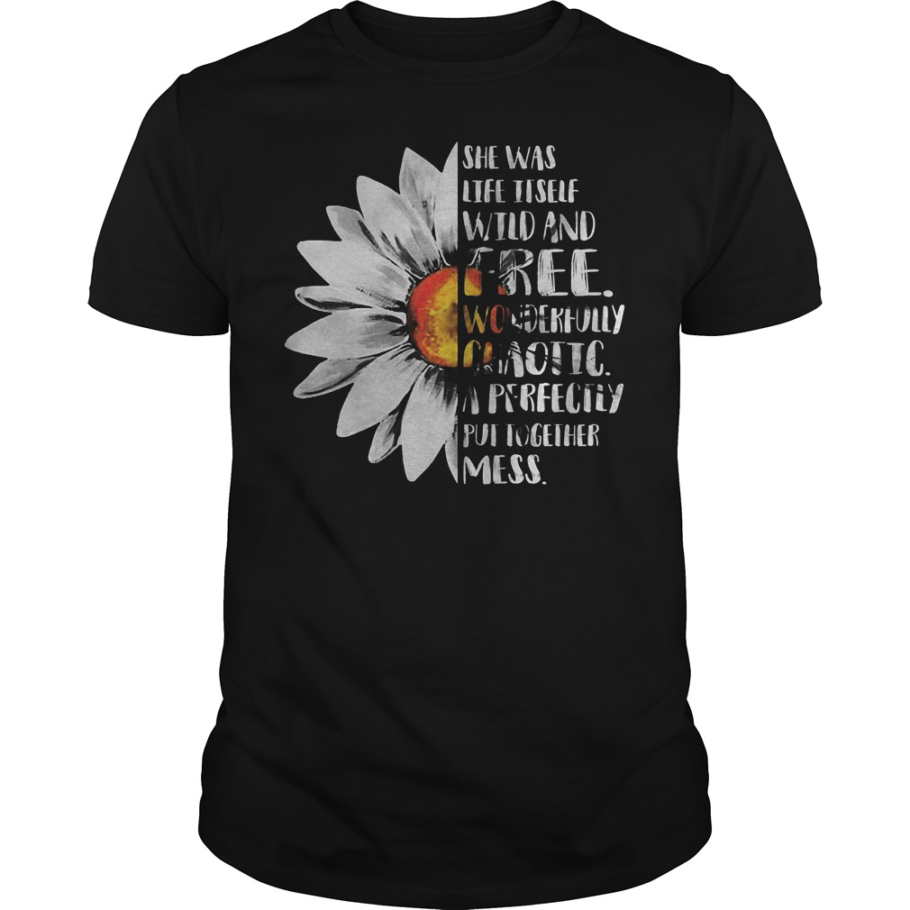 Sunflower – She Was Life Itself Wild And Free T-Shirt Classic Guys / Unisex Tee