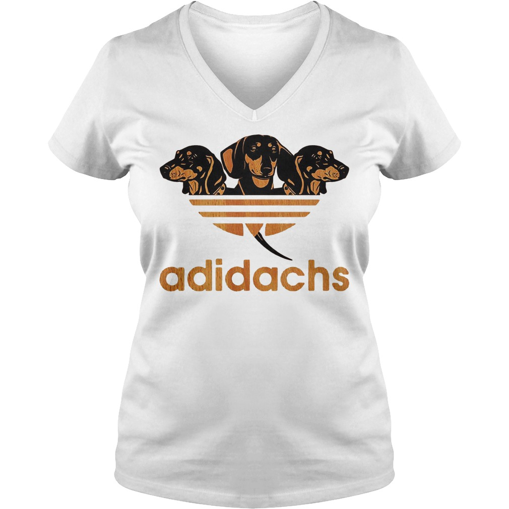 Adidas Dachshund Adidachs Shirt Ladies V-Neck