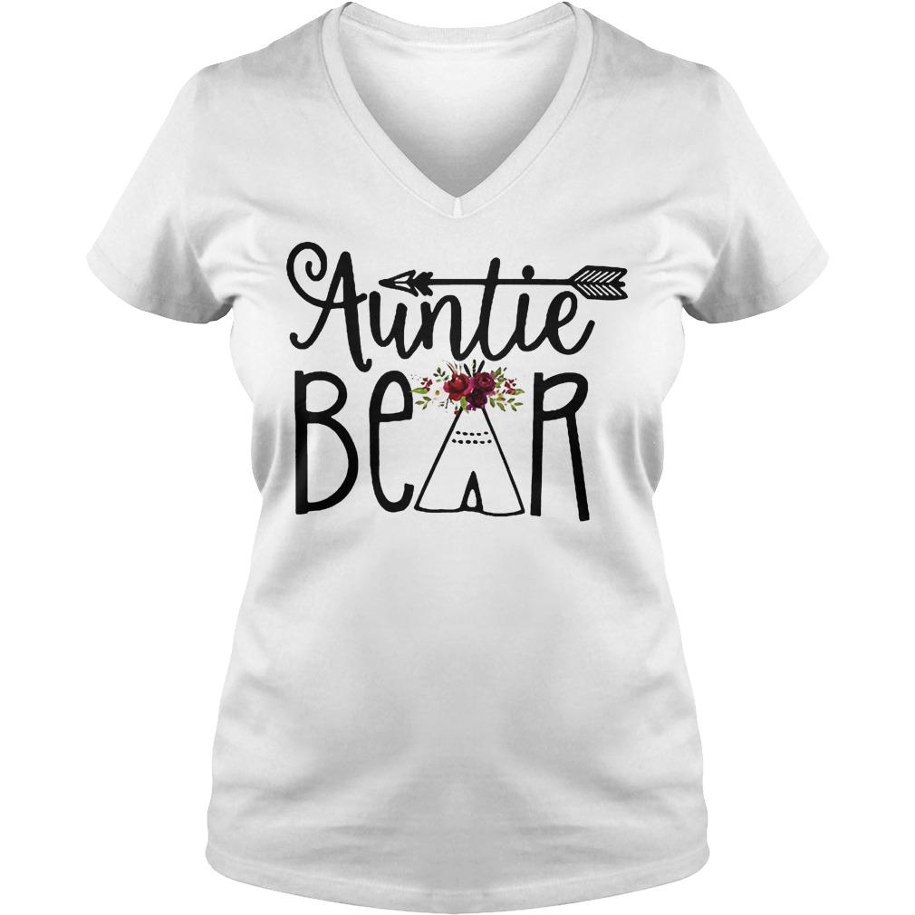 Auntie Bear Flower Tent Arrow Shirt Ladies V-Neck